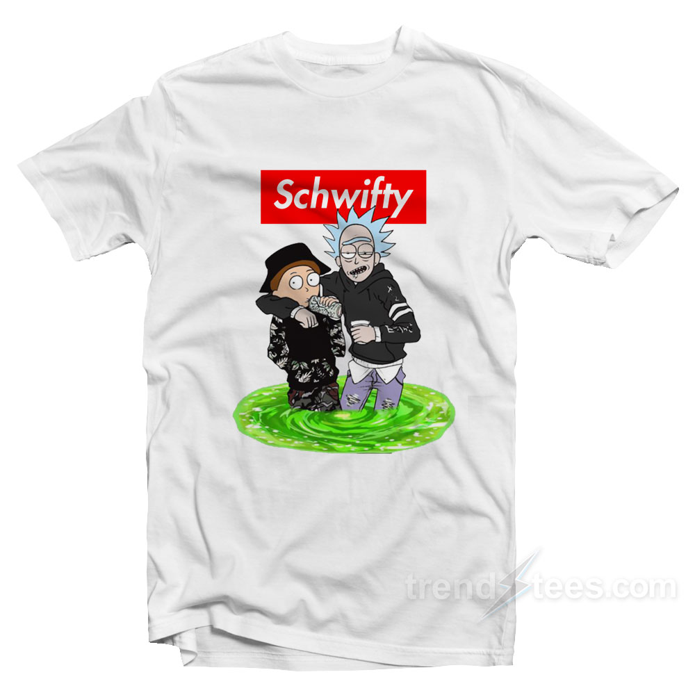 bf48f57f1d8 Trendy Supreme Style Rick Morty Get Schwifty T-shirt - Trendstees.com