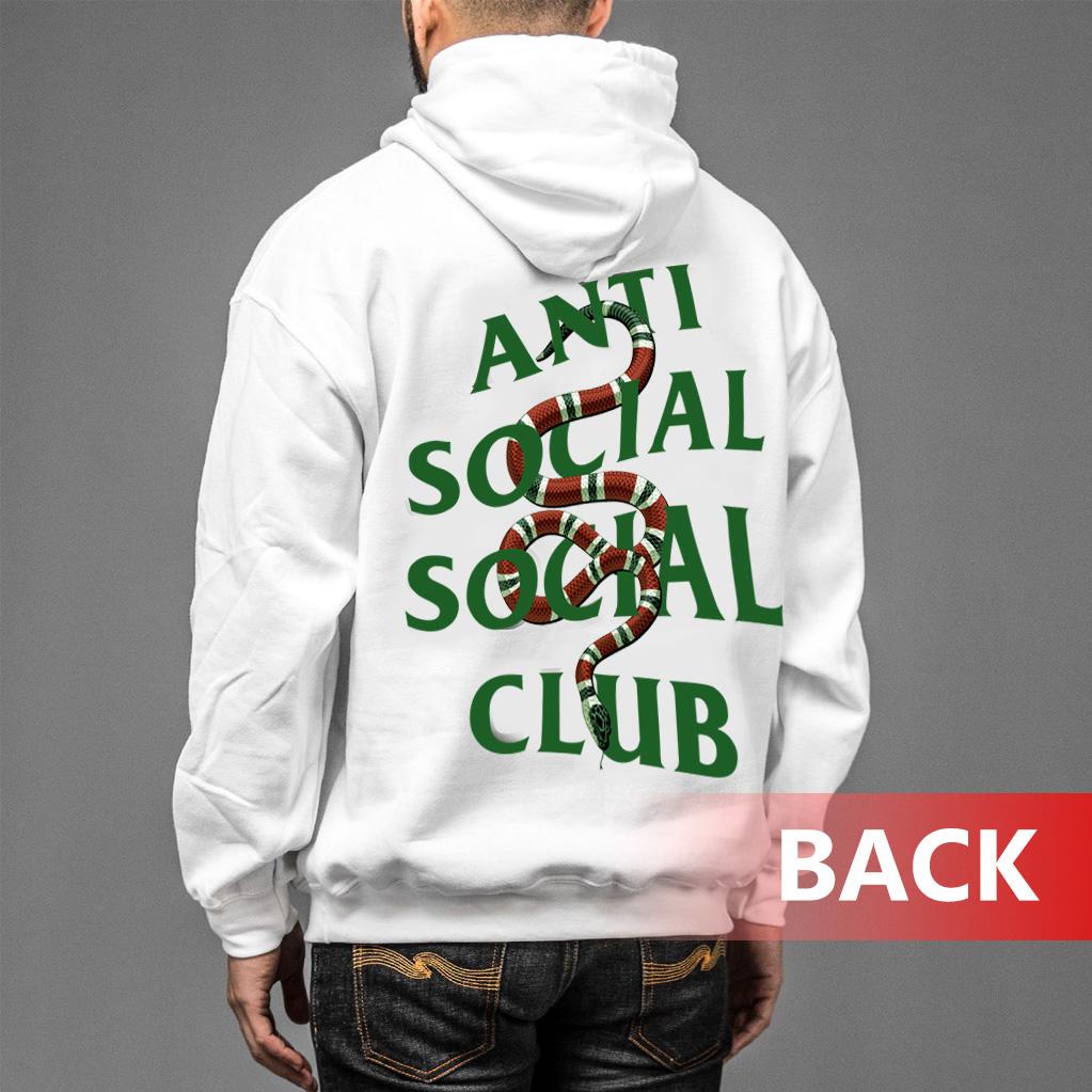 b38a880d6209 ASSC white Anti Social Social Club x Gucci Snake Hoodie - Trendstees