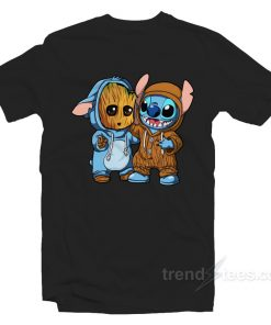 Stitch And Baby Groot T-shirt
