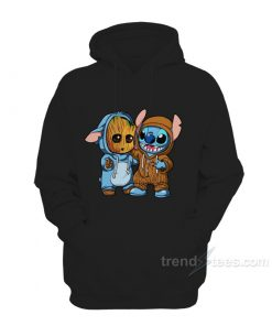 Stitch And Baby Groot Hoodie For Women's or Men's