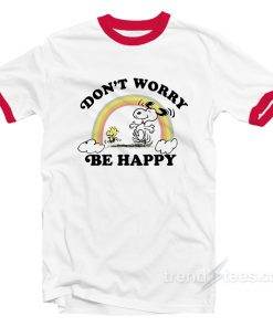 Junk Food Snoopy Don't Worry be happy Ringer T-shirt