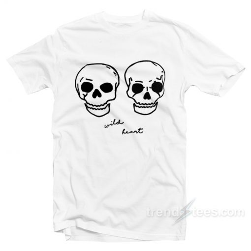 Wild Heart Embroidered Skulls Boyfriend T-Shirt