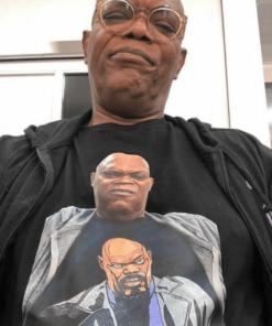Samuel L. Jackson Wearing a T-Shirt Of Himself T-Shirt