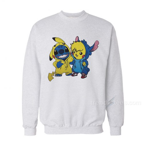 Stitch And Pikachu Sweatshirt For Women's or Men's