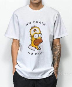 No Brain No Pain Bart Simpsons T-Shirt