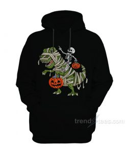 Skeleton Riding T-Rex Hoodies