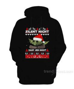 Silent Night Baby Yoda Night Christmas Hoodie