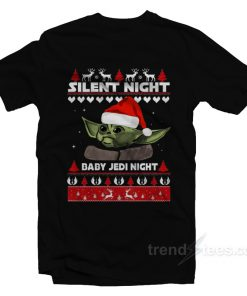 Silent Night Baby Yoda Night Christmas T-Shirt