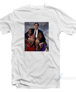 Phil Jackson Hugging Michael Jordan And Kobe Bryant T-Shirt