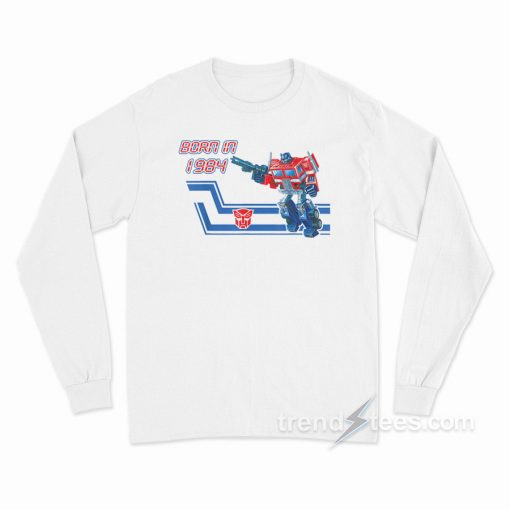 Transformers Optimus Prime Costume Front Back Print Adult Long Sleeve T-Shirt